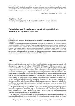 Złożenia i związki frazeologiczne w tekście i w przekładzie