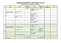 HARMONOGRAM ROKU SZKOLNEGO 2015/16