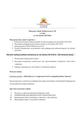 Plan pracy Szkoły - Szkoła Podstawowa nr 110 im. Partyzantów
