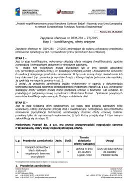 Zapytanie Ofertowe - Modertrans Poznań Sp. z oo