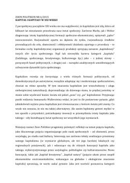 ZOON POLITIKON NR 6/2015 KAPITAŁ I KAPITAŁY W XXI WIEKU Z