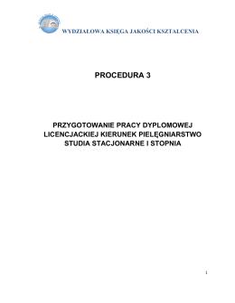 Procedura 3 – Przygotowanie pracy licencjackiej