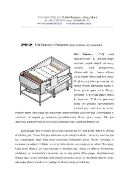Filtr Taśmowy (FT-P) został zaprojektowany do - EKO