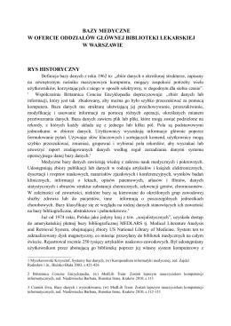 Bazy medyczne w ofercie oddziałów Głównej Biblioteki Lekarskiej