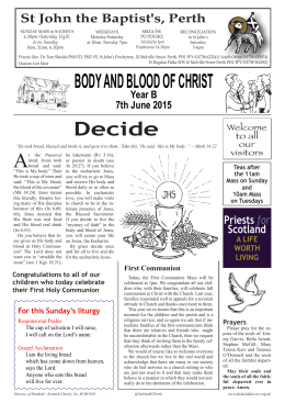 BODY AND BLOOD OF CHRIST - St John`s RC Church, Perth