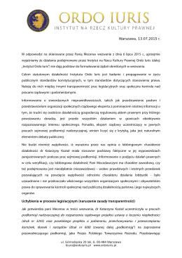 Pełna treść stanowiska Instytutu na rzecz Kultury Prawnej Ordo Iuris