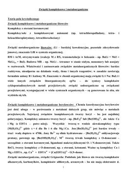 Związki kompleksowe i metaloorganiczne