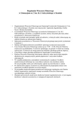 Regulamin Wieczoru Filmowego w Gimnazjum nr 3 im. K.I.
