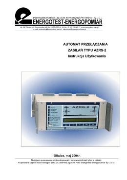 Instrukcja użytkowania AZRS-2 wersja