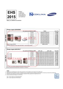 Cennik Pompy Ciepła Samsung EHS 2015