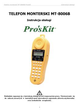 TELEFON MONTERSKI MT-8006B Instrukcja obsługi