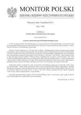 Sejm Rzeczypospolitej Polskiej ogłosił rok 2015 Rokiem Polskiego