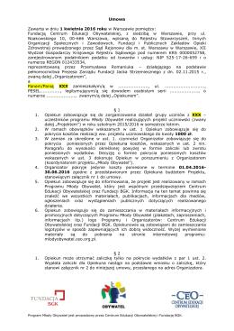 Umowa Zawarta w dniu 1 kwietnia 2016 roku w