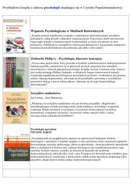 Przykładowe książki z zakresu psychologii znajdujące się w Czytelni