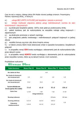 Biznes Plus abonament: 30, 50, 75 i 100 wersja: SIM