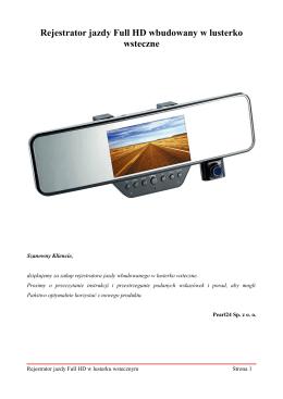 Rejestrator jazdy Full HD wbudowany w lusterko wsteczne