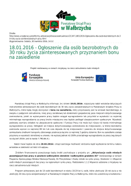 18.01.2016 - Ogłoszenie dla osób bezrobotnych do 30 roku życia