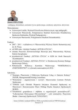 Janusz ZIELIŃSKI - pedagog, dziennikarz, animator życia