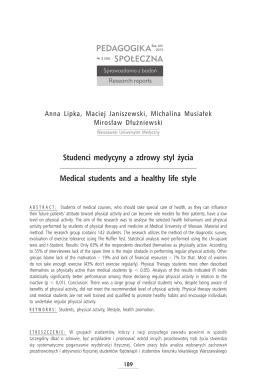 Studenci medycyny a zdrowy styl życia Medical students and a