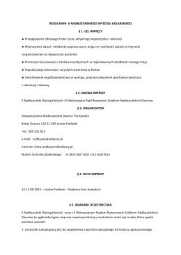 REGULAMIN II Wyscigu - Nadbużańskie Dwory i Pensjonaty