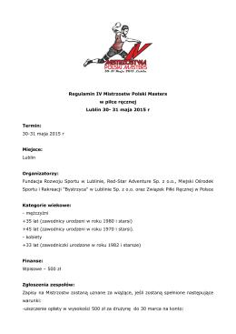 Regulamin IV Mistrzostw Polski Masters