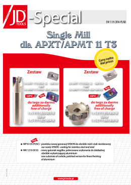 Single Mill dla APXT/APMT 11 T3 Single Mill dla APXT/APMT 11 T3