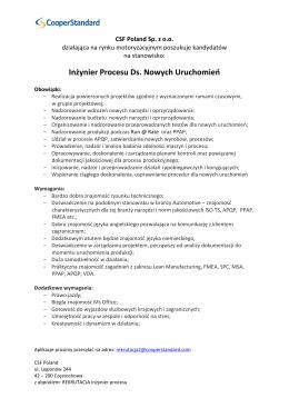 Inżynier Procesu Ds. Nowych Uruchomień