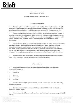 Ogólne Warunki Sprzedaży przyjęte uchwałą Zarządu z dnia 03.08