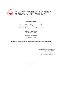 Wydział Informatyki Katedra Inżynierii Oprogramowania Inżynieria