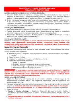 Zasady rozliczeń - REGIO