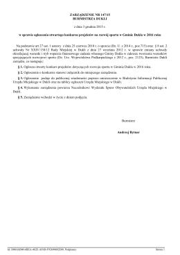 Zarządzenie Nr 147/15 Burmistrza Dukli z dnia 3 grudnia