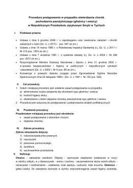 procedura postępowania - choroby pochodzenia pasożytniczego