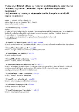 Wykaz sal, w których odbędą się rozmowy kwalifikacyjne dla