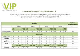 Cennik reklam w portalu VipMultimedia.pl
