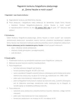 Regulamin konkursu, formularz zgłoszenia