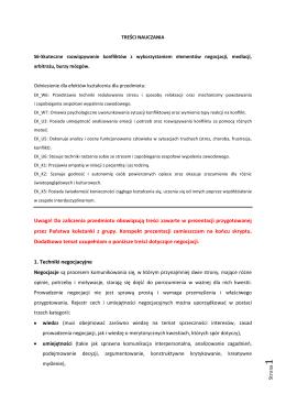 Negocjacje – treść nauczania - Psycholog Bielsko