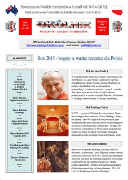 Lipiec - Sierpień - Wrzesień 2015 Rok św. Jana Pawła II Rok Jana