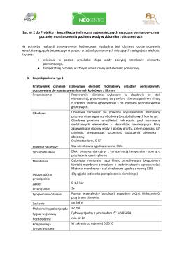 Załącznik nr 2 do Projektu – specyfikacja czujników