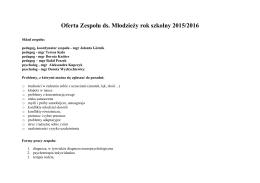 Oferta Zespołu ds. Młodzieży rok szkolny 2015/2016