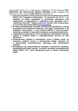 Zarząd AQUA HOTEL S.A. w Polkowicach, ul.Młyńska 6, 59