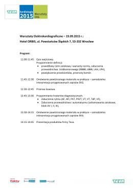 Warsztaty Elektrokardiograficzne – 19.09.2015 r.: Hotel ORBIS, ul