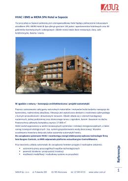 HVAC i BMS w MERA SPA Hotel w Sopocie