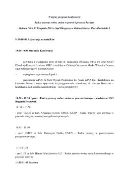 Wstępny program konferencji Radca prawny wobec zmian w prawie