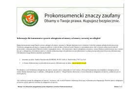 Informacja dla konsumenta o prawie odstąpienia od umowy od