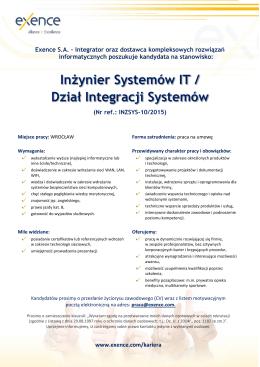 Inżynier Systemów IT / Dział Integracji Systemów