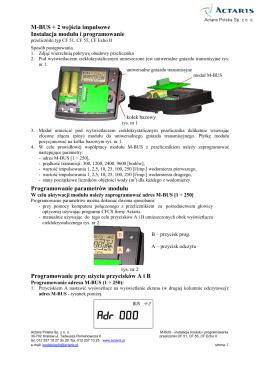M-BUS + 2 wejścia impulsowe Instalacja modułu i