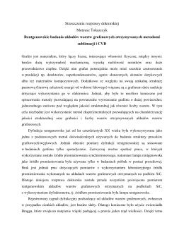 Streszczenie rozprawy doktorskiej Mateusz Tokarczyk