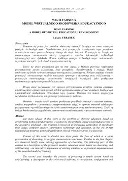 wikilearning model wirtualnego środowiska edukacyjnego