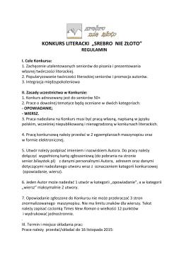 """KONKURS LITERACKI """"SREBRO NIE ZŁOTO"""""""