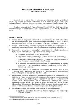 notatka ze spotkania - Strona Podkomisji KEP ds. IFŻK